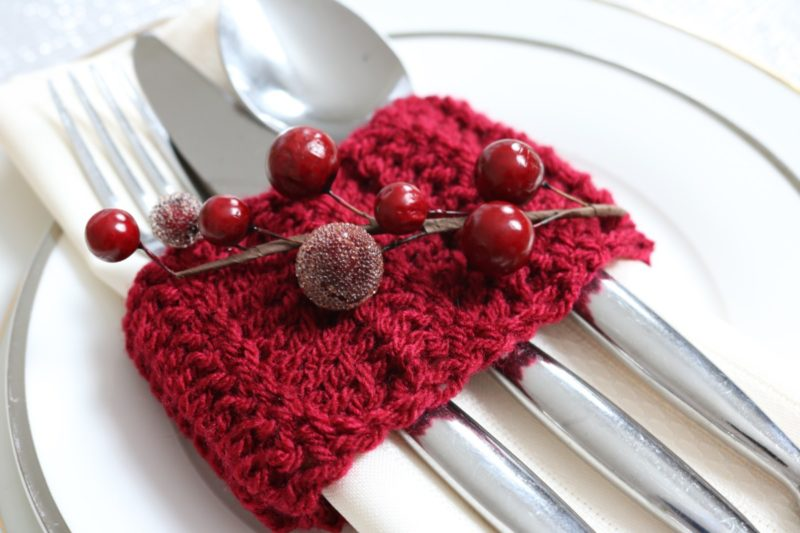 crochet cutlery holder